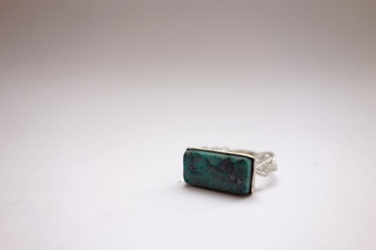 Sterling silver and apple turquoise rectangular ring by Picossa on Etsy