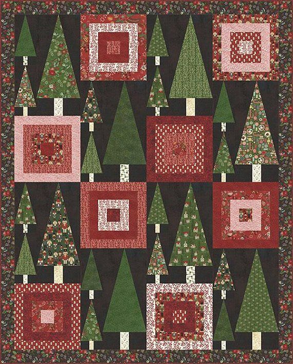 Winter Village Quilt Kit By Basic Grey For Moda Fabrics Christmas Tree Quilt Pdf Quilt Pattern Christmas Quilt Patterns