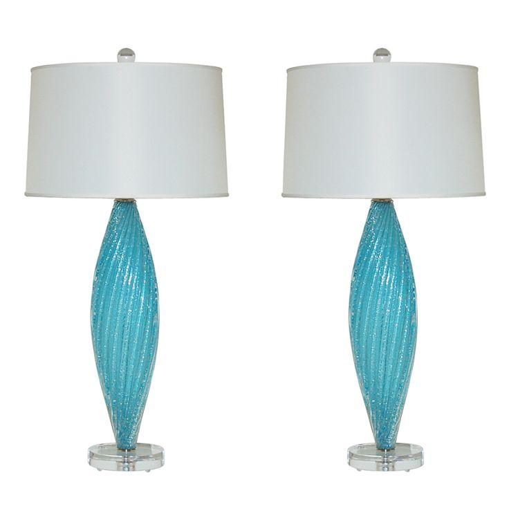 Beautiful pair of blue pulegoso vintage murano lamps italy 1960