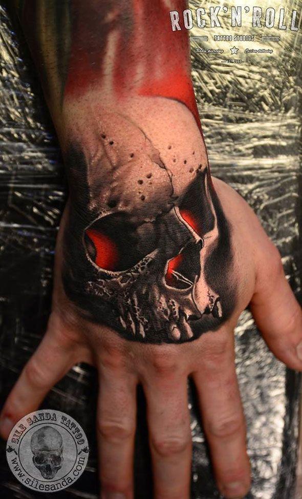 http://tattooideas247.com/red-skull-hand-tattoo/ Red Glowing Skull Hand Tattoo #Hand, #RedGlow, #Skull