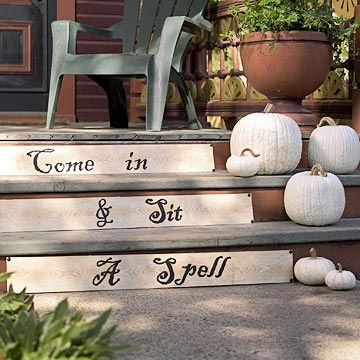 halloween: Idea, Porches Step, Is, Stairs, Halloween Decoration, Front Doors, White Pumpkin, Front Porches, Front Step