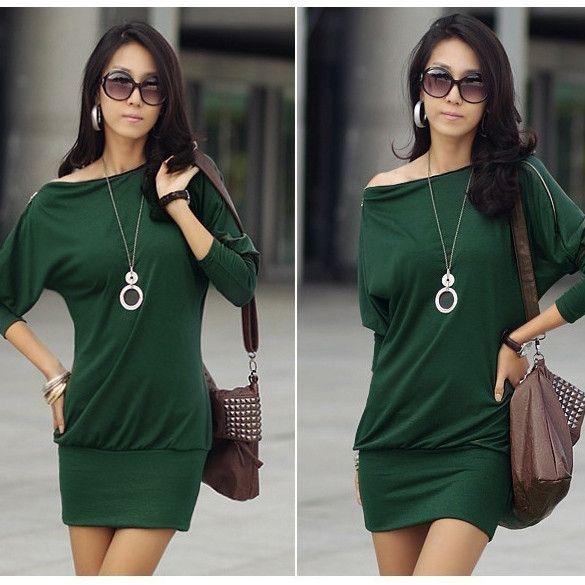 New Fashion Womens Korea Batwing Off-Shoulder Tops Zip Shirt Mini Dress