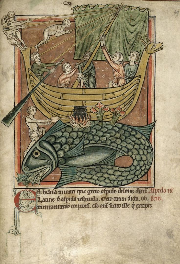 Miniature of a whale and a sailing boat - from a Bestiary, with extracts from Giraldus Cambrensis - England (Salisbury?) - mid C13