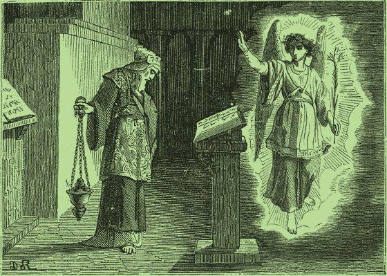 Saint Zacharie accomplit ses fonctions saintes dans le Sanctuaire du Temple, et reçoit l