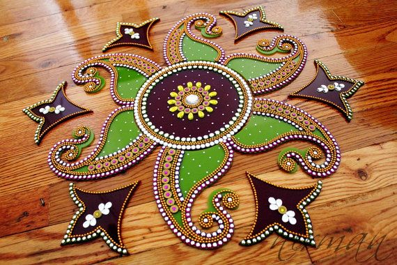 Purple & Green Rangoli Kundan Bollywood inspired Acrylic by Nirman
