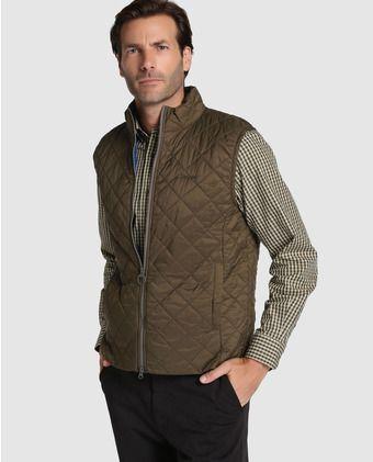 Chaleco abrigo de hombre Barbour acolchado marrón