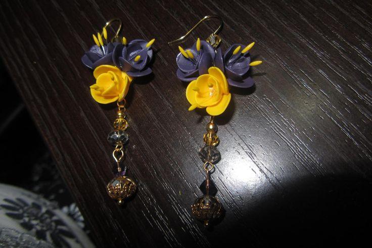 earrings crocus/серьги цветы шафрана, крокусы
