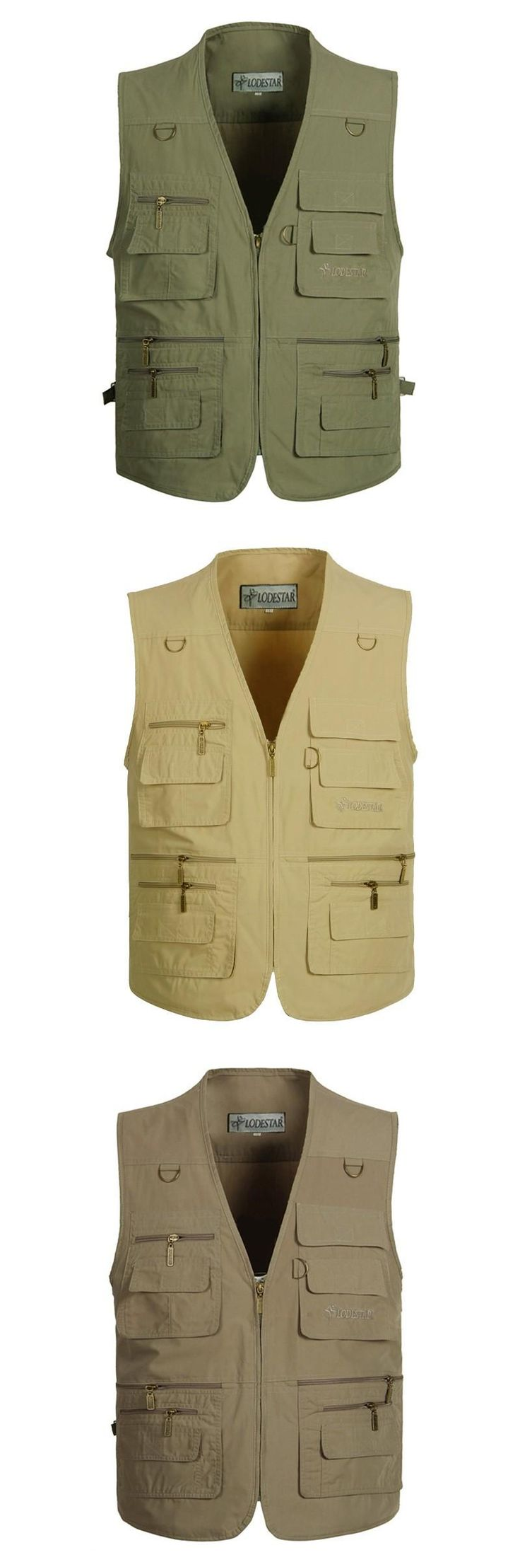 Men's Vest With Many Pockets Casual Reporter Vests Cotton Photographer Vests Travel Shooting Vests Plus Size XL-5XL Three Colors