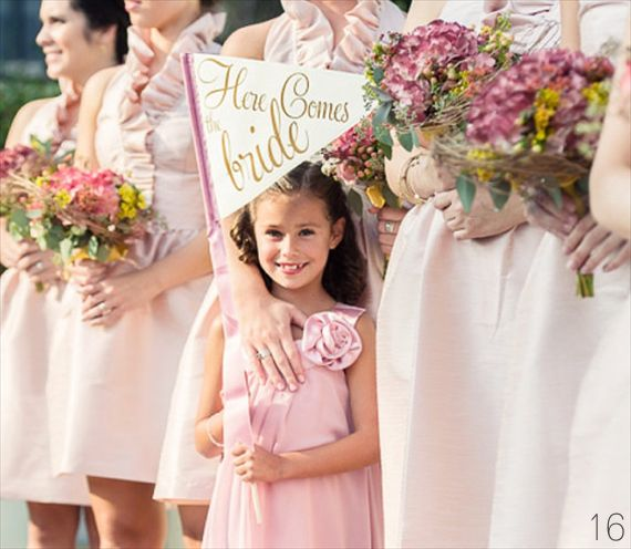 Flower Girl Trends She'll Actually Like via Emmaline Bride (here comes the bride pennant by the ritzy rose)