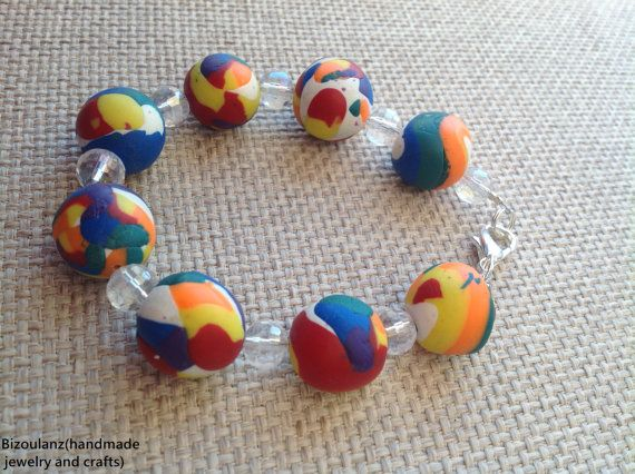 Rainbow polymer clay bracelet with clear swarovski crystal beads,fimo/cernit multicolor jewelry, Kawaii fluorescent matches with all colors