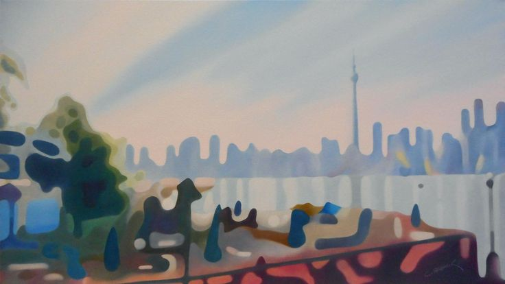 VIEW FROM THE CENTRE ISLAND OIL ON CANVAS 18x32 in.