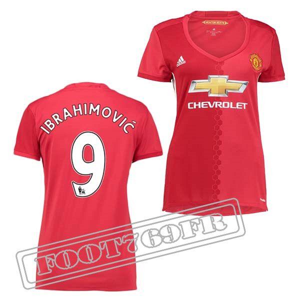 Promo Maillot Du Ibrahimovic 9 Manchester United Femme Rouge 16/17 Domicile : Premier League