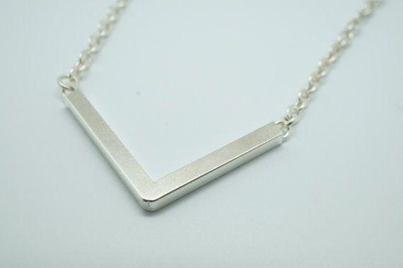 V shape sterling silver necklace by HesisJewelry on Etsy