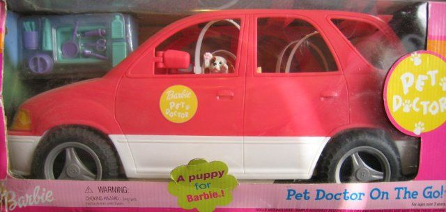 2001 Barbie Pet Doctor On The Go! Vehicle wich Pop Out Care Station & Puppy Set