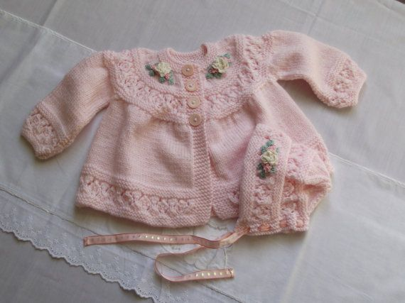 baby jacket / cardigan and bonnet / hat in pink with by bythemill
