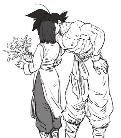Happy Valentine's Day kiss #Goku #Chichi