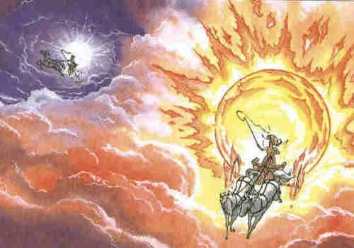 Máni is the personification of the moon in Norse mythology. He is the brother of the personified sun, Sól (Sunna), and the son of Mundilfari, while the Prose Edda adds that he is followed by the children Hjúki and Bil through the heavens.