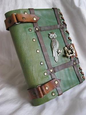 Handmade Leather Journal Notebook Owl Emblem