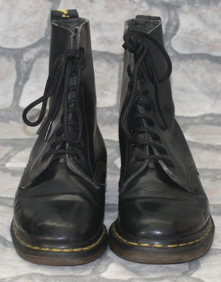 Rare 60s Made in England Black Dr Martens Martins 8 Hole Skinhead Boots 4 37