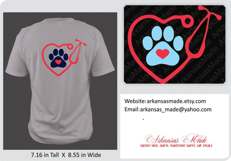 Veterinary stethoscope with paw shirt, paw shirt, vet shirt, vet paw shirt, heart stethoscope, available in multiple colors - pinned by pin4etsy.com