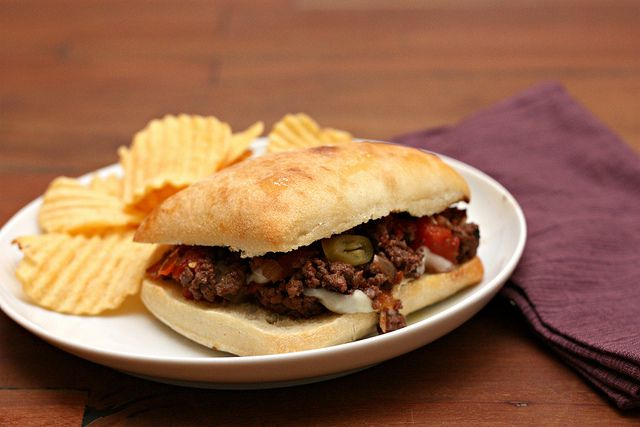 sloppy giuseppes. Such good flavor. Put feta and kalamata on top of the sandwich instead of provolone and gardinera.