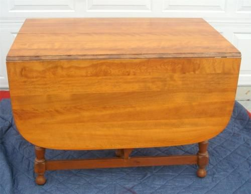 ETHAN ALLEN MAPLE WOOD GATE LEG DINING TABLE In Antiques, Furniture, Tables,  Post