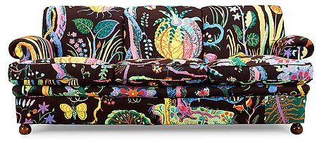 A Josef Frank sofa, model nr 703 Svenskt Tenn. Reupholstered in Josef Frank's fabric Hawaii. Length ca 19.... - Modern Autumn Sale, Stockhol...