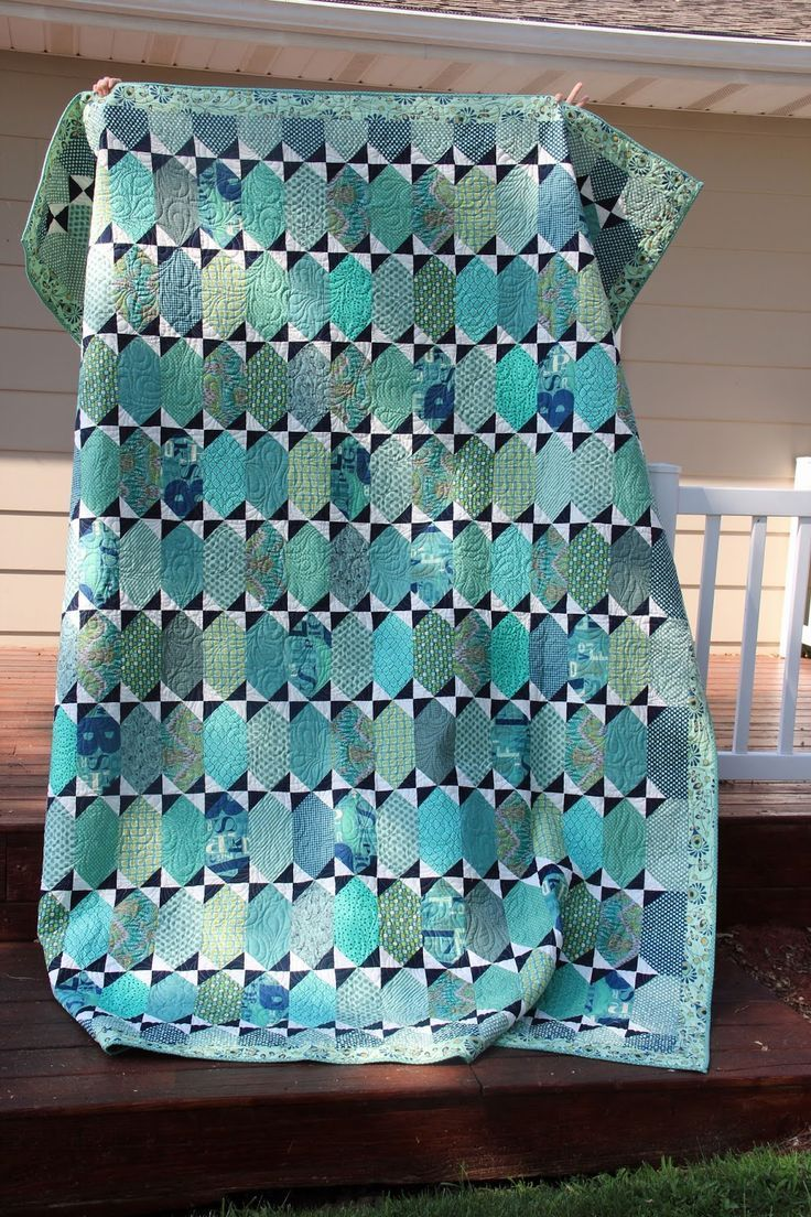 Tula Pink's Pancakes pattern in blues and seafoam. Girls in the Garden