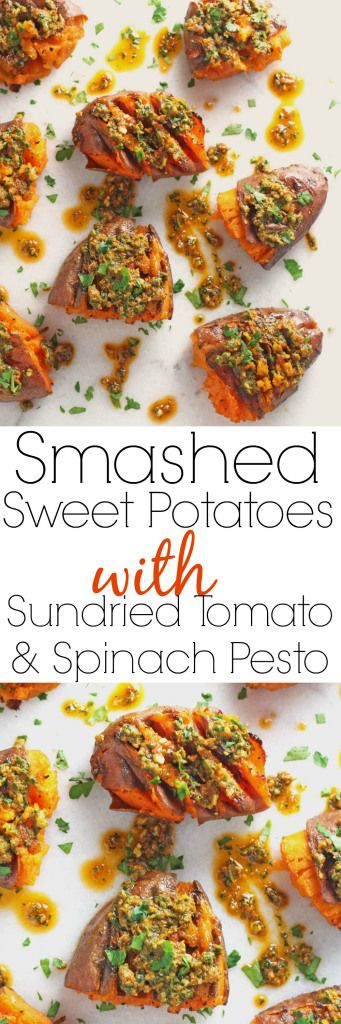 Delicious smashed sweet potatoes topped with sundried tomato and spinach pesto