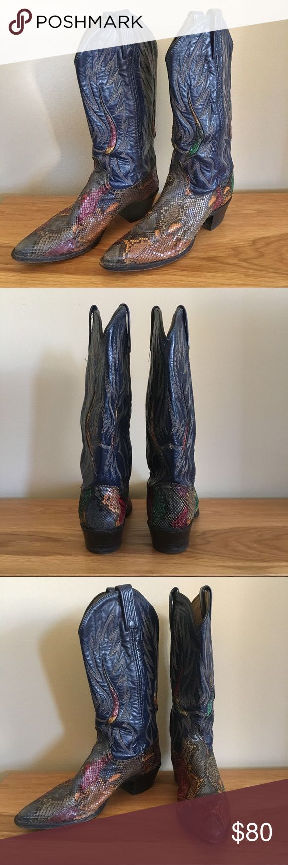 Vintage Dan Post Snakeskin Cowboy Boots Too Cool For School Cowboy Boots! One of a kind embroidery & pattern. Size 8.5 (39). Made in USA. Dan Post Shoes
