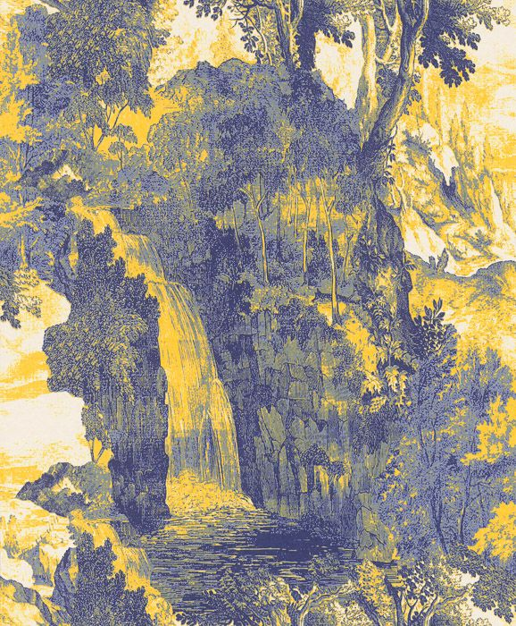 сине-желтые обои с водопадами