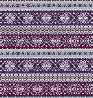 fair isle pattern - Love the purples and blues together with the grey. ^^