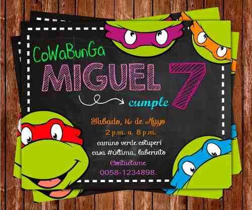 Invitación De Cumpleaños Tortugas Ninjas Tmnt Photoshop - Bs. 300,00