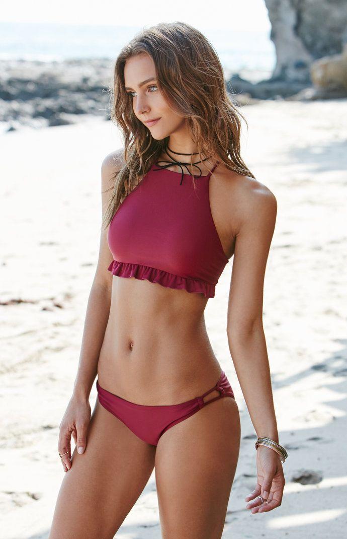 Ruffled Crisscross Back Cropped Bikini Top