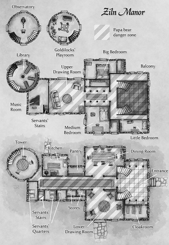 Manor House Dungeon maps RPG and
