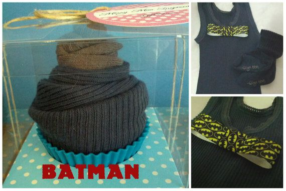 Cute Cupcake! Batman Bowtie embellished singlet with socks.