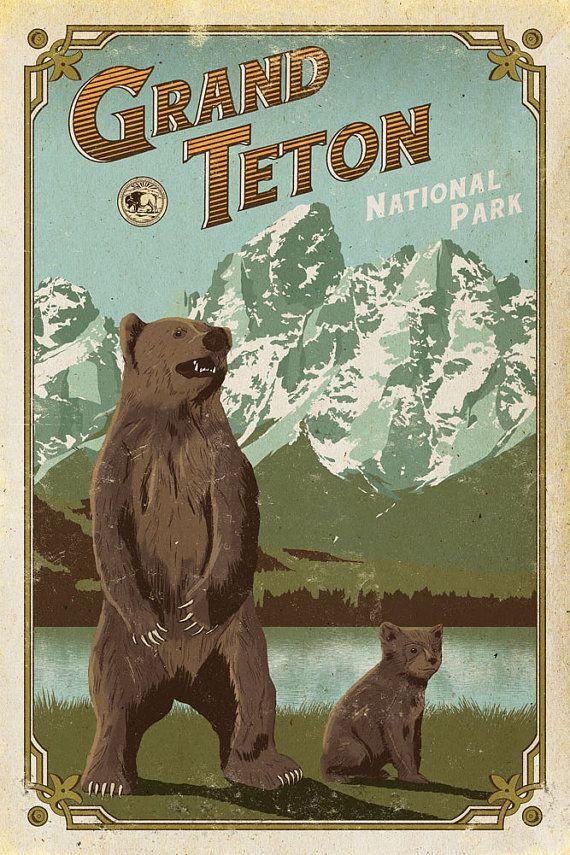 Grand Teton Poster Grand Teton National Park print Wyoming