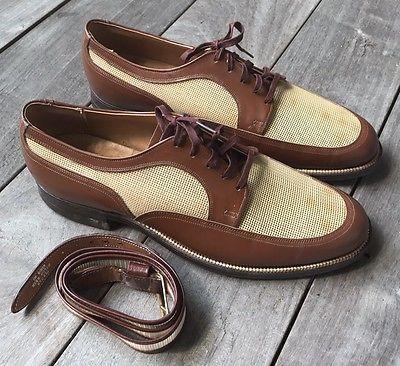 Vintage-30s-40s-Leather-amp-Mesh-Spectator-Shoes-amp-Matching-Belt-9-5-D