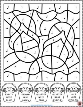 Music Coloring Sheets: 26 Summer Color by Music Notes and