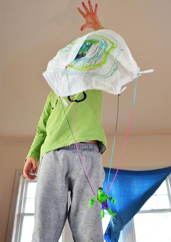 How to make a plastic bag parachute for your toys.