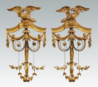 Fine Pair Gilt WoodFine Pair Gilt Wood Sconces: Carved Wood, Gesso, Perched  Eagle