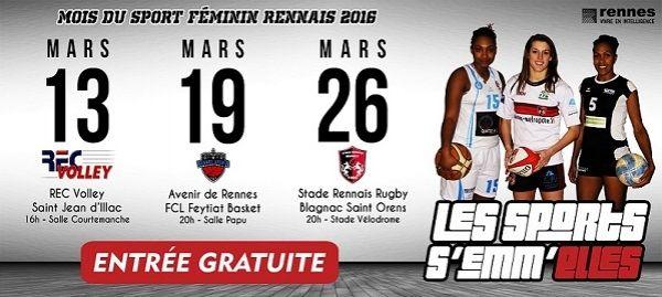 """Événement : """"Les sports s'emm'Elles"""", mois du sport féminin rennais 2016 - Stade Rennais Rugby, Avenir de Rennes et REC Volley - 21/02/2016"""