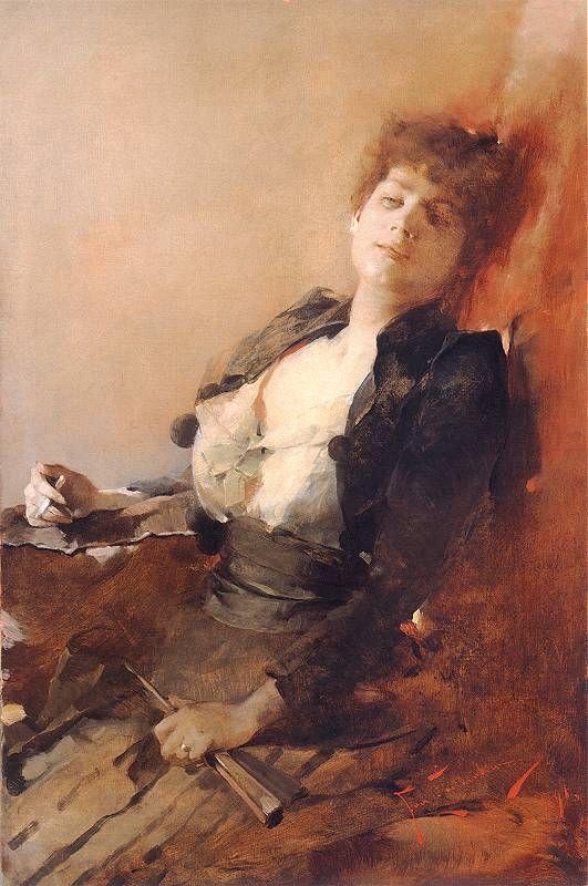 Franciszek Żmurko, Portret kobiety z wachlarzem i papierosem, 1891.