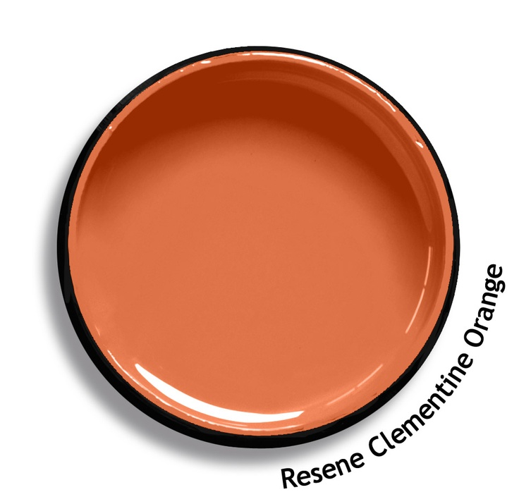 Resene Clementine Orange is a warm persimmon orange, cheerful and uplifting. From the Resene Karen Walker Paints colour range. Try a Resene testpot or view a physical sample at your Resene ColorShop or Reseller before making your final colour choice. www.resene.co.nz/karenwalker.htm