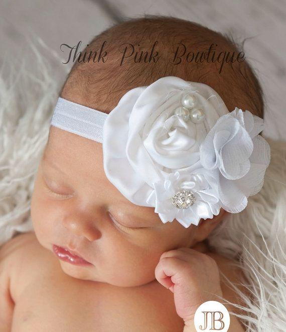 White Baby headband, baby headbands Christening Headband,baptism headband,Newborn Headband, baby headband,…