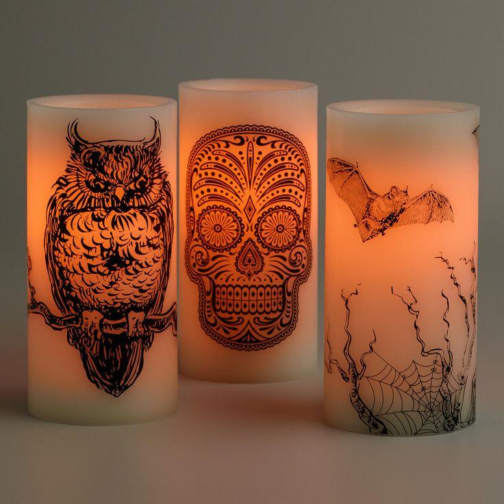 Halloween LED Pillar Candles, Set of 3 | World Market