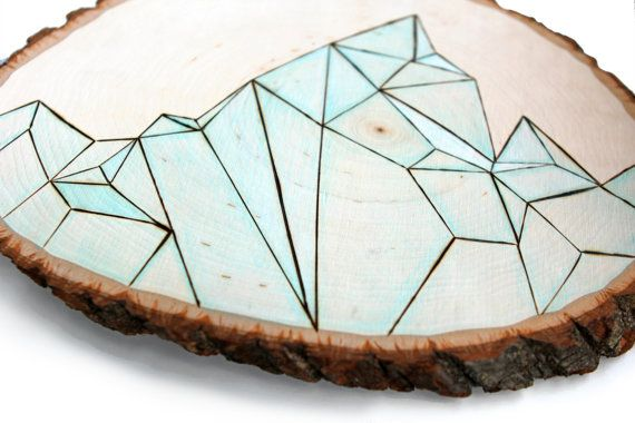 the original tree slice modern art, one of a kind - abtract minimalist geometric…