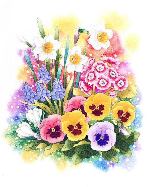 рисунки весенних цветов вам