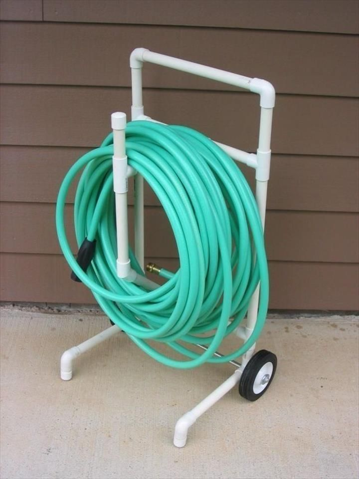 reclaimed PVC pipe garden hose stand