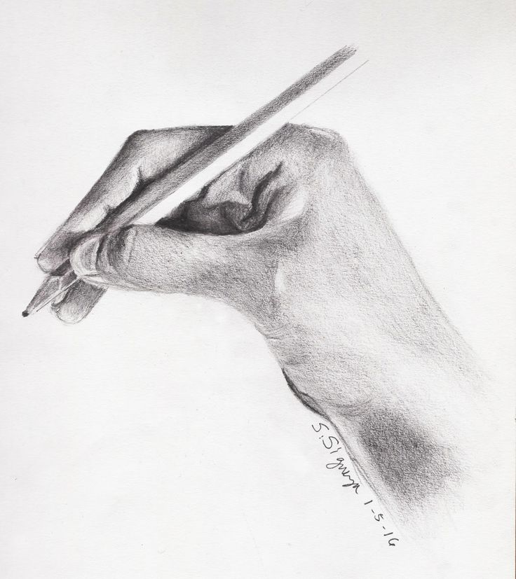 how to draw a hand holding a pencil easy
